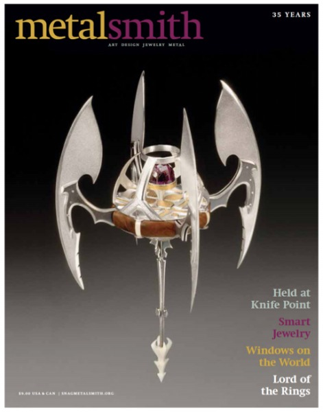 Ferrero's work featured on the cover of Metalsmith Magazine